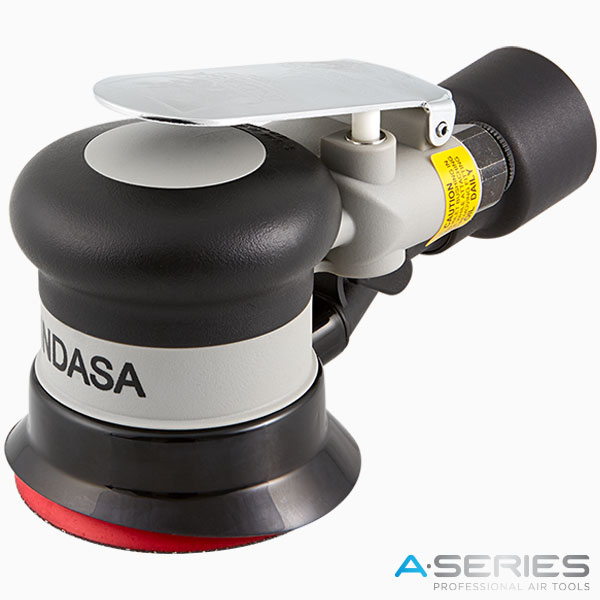 black pneumatic air sander with central vacuum 75 mm INDASA Abrasives