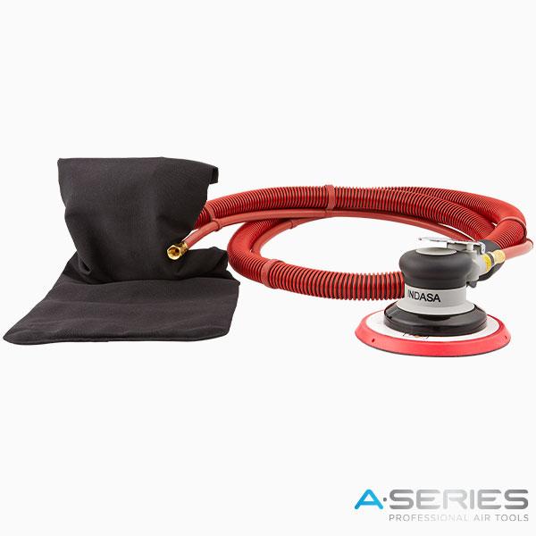 black pneumatic air sander with self generated vacuum 150 mm INDASA Abrasives